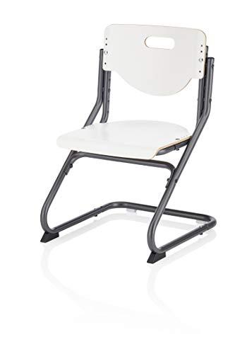 Kettler Chair Plus Kinder- und Jugendstuhl Stahl, Schichtholz aus Buche Weiß/Anthrazit 47 x 62-86 x 47 cm