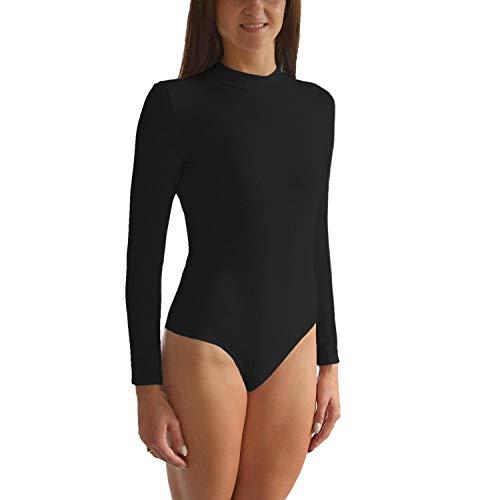 Alkato Damen Langarm Body mit Halbkragen L013, Farbe: Schwarz, Größe: 36