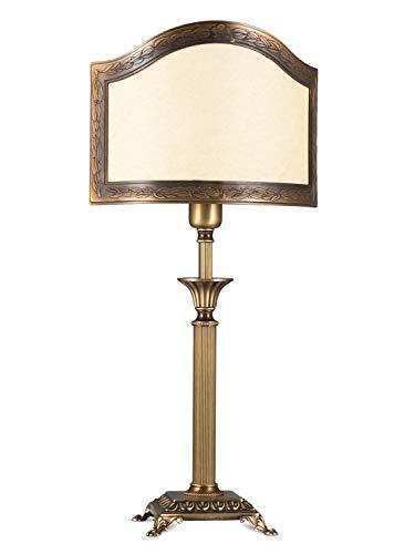 Helios Leuchten 403775/3 Vintage Lampe Leuchte | klassische Jugendstil Tischleuchte Tischlampe | Retro Schreibtischlampe echt Messing antik Altmessing | Halb-Lampenschirm Pergament | 1xE14 -