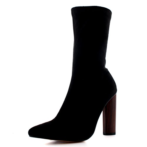 Donna Tacco Scarpe A Punta Moda Nero Elegante Vestito Stivaletti - Nero - UK7/EU40 - SS0012