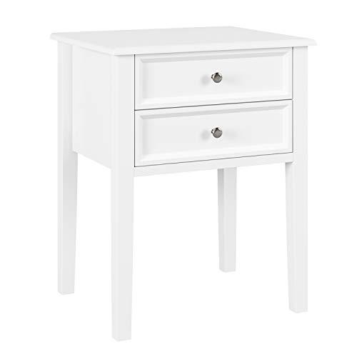 Homfa Nachttisch Beistelltisch Kommode Wohnzimmertisch Sofatisch Nachtschrank mit 2 Schubladen Weiß Holz 48x40x60cm