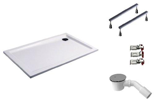 Mebasa DWSET221PF Duschwannen Set 130x80x4,5 cm inkl. Acryl Duschwanne, Duschwannenfuß, Ablaufgarnitur und Wannenanker