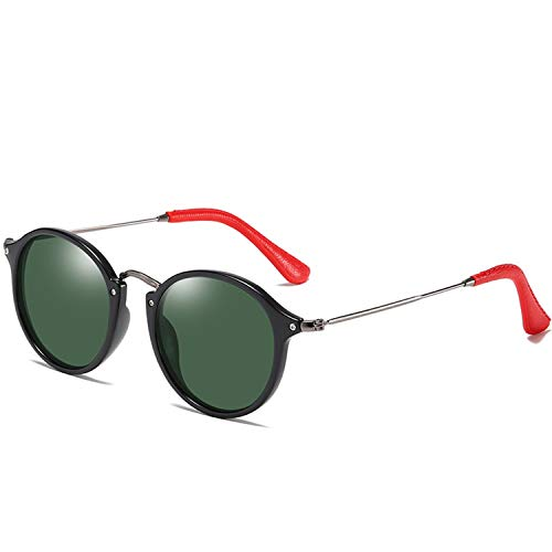 ShengEnn Sonnenbrille für Frauen-Männer polarisierte Sonnenbrille Damenmode Edelstahl Sonnenbrille Großhandel PU Ledertasche Dunkelgrün