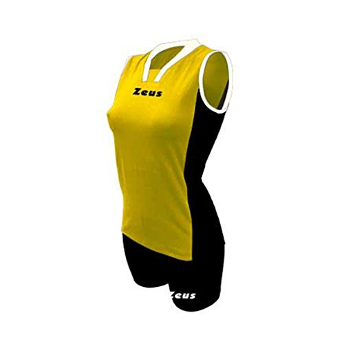 Zeus Damen Volleyball Trikot Hose Shirt Indoor Handball Training Ausbildung KIT IOLY GELB SCHWARZ WEISS (S)