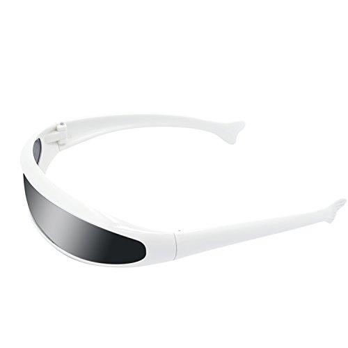 Kids weiss PC Frame Objektiv Sonnenbrillen Party Kostüm komische Props Schutzbrillen (Futuristisches Kostüm)