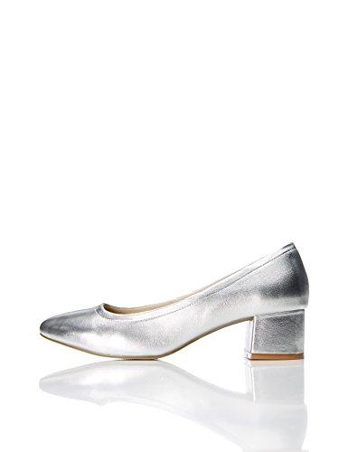 FIND Pumps Damen mit Blockabsatz und Ballerina-Design, Silber (Silver), 40 EU