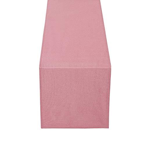 DecoHomeTextil Brilliant Leinen Optik Tischläufer Tischband Abwaschbar Wasserabweisend 33 x 160 cm Altrosa/Rosa Fleckschutz Pflegeleicht mit Saumrand Leinentuch