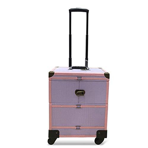 Trolley-style étui cosmétique roue universelle cas cosmétique rétro PU multi-fonction en alliage d'aluminium de beauté cas,Purple