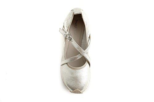 Pretty Nana Donna Ballerina/ Flats in pelle Footbeds Nella 200220/200270/200292 Platino