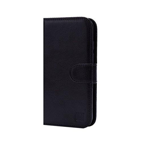 32nd PU Leder Mappen Hülle Flip Case Cover für Alcatel Pixi 4 (5) 4G, Ledertasche hüllen mit Magnetverschluss und Kartensteckplatz - Schwarz