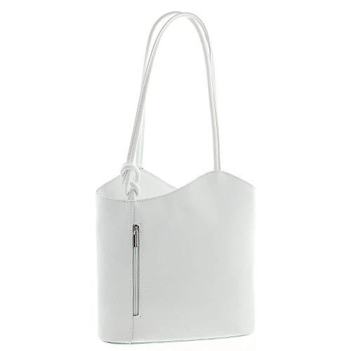 IO.IO.MIO Leichter Damen Leder Rucksack Handtasche Schultertasche Henkeltasche Daypack Tagesrucksack Backpack Frauen Tasche 2in1 Damenrucksack weiß