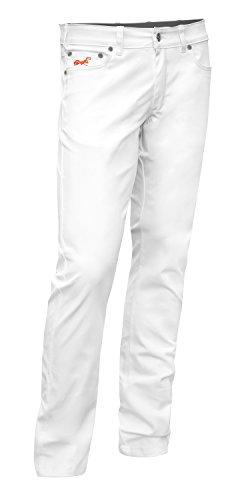 Herren Hose Praxis (Bundhose Stretch Milano 5-Pocket-Jeans Style Baumwolle 260 gm - Arzthose Pflegerhose. Bäckerhose. Kellnerhose. Business Stoffhose Elegante Hose Classic - made in EU - KERMEN - Weiß. Größe: 52)