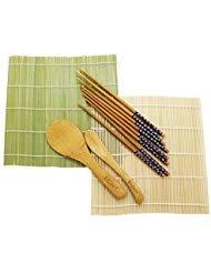 Kit de 8 piezas para enrollar sushi, el kit incluye 2 x esterillas de Bambú (24 x 23cm / 9.5 x 9 pulgadas), 1 x paleta de arroz (20 x 6cm / 8 x 2.5 pulgadas), 1 x esparcidor de arroz (19 x 3cm / 7.5 x 1.2 pulgadas) y 4 pares de palillos (23 cm / 9 pu...