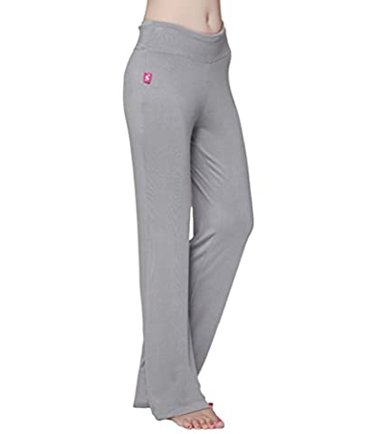 Brinny komfortabel elegante Yogapants Damen Casual Sport Fitness Yoga Hose Breite Beinhosen , Hellgrau - L