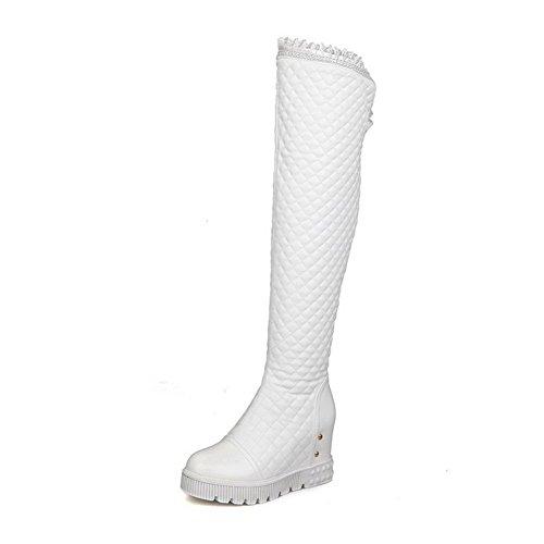 AllhqFashion Damen PU Leder Hoher Absatz Reißverschluss Rund Zehe Stiefel, Weiß, 43