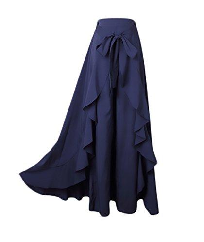 dd7ae0b8b1 Donna Gonna Pantalone Eleganti A Vita Alta Puro Colore Irregolare con  Volant Gonna Lunga Moda Giovane Casual Gonne Lunghe Pantalone A Pieghe ...