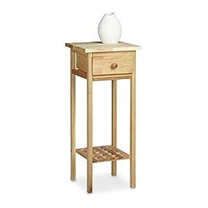Relaxdays Telefontisch Walnuss HBT: ca. 60 x 25 x 25 cm Beistelltisch mit Schublade Konsolentisch aus Holz Pflanzentisch…
