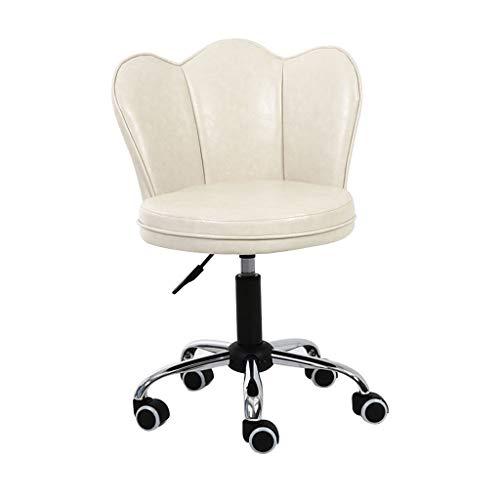 LSRRYD Bürostuhl Drehstuhl Mit Rollen Schreibtischstuhl Höhenverstellbar Kunstleder Esszimmerstuhl/Rückseite Loungesessel (Farbe : Cream) -
