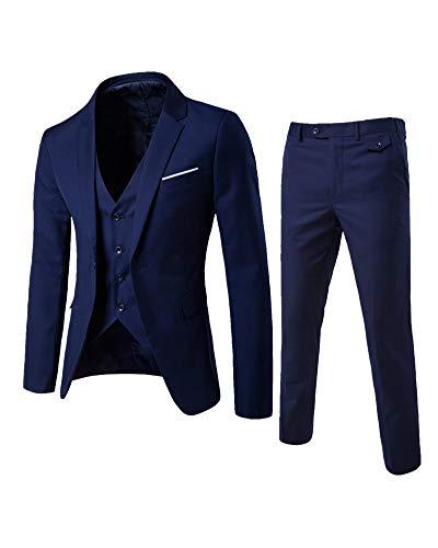 Homme Costume Bouton 3-Pièce Manteau de Veste Gilet Et Pantalon Coupe Slim Bleu Marine S