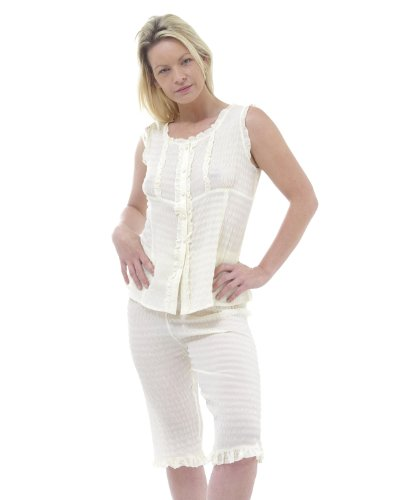 Soie douce cultivé pyjama Pantalon Crème