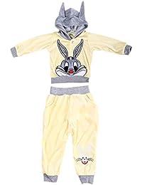 Baby Cartoon Rabbit Velvet Set Ropa de niños Conjunto Top de Manga Larga y Pantalones 100% Caliente Azul Claro, Amarillo, Rojo 90cm