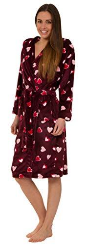 Morbida Vestaglia da Donna in Pile con Cappuccio - Design di Cuori (M)