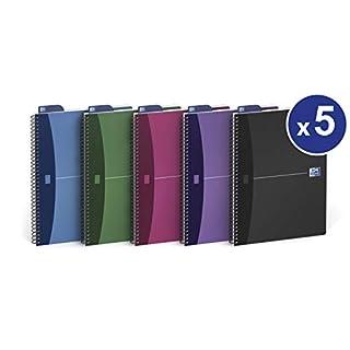 OXFORD 100104341 Spiralbuch Urban Mix 5er Pack mit 5 Farben A5 kariert 90 Blatt mit Lesezeichen-Lineal Schreibblock Notizblock Schulblock