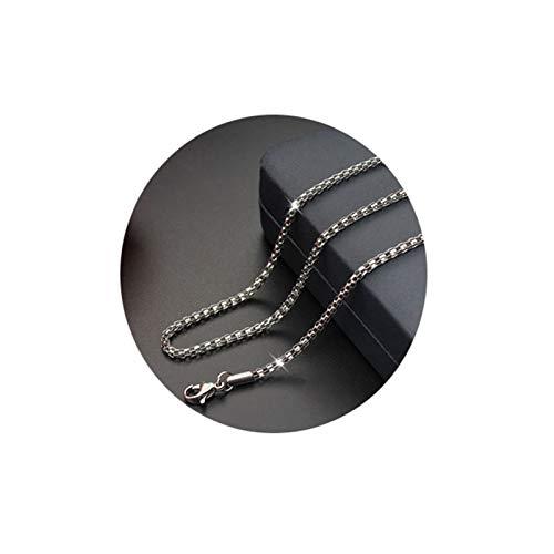 Epinki Edelstahl 3MM Halskette für Herren & Damen Silber Lantern Ketten Gothic Herrenkette Hip Hop Ketten Länge 50CM (Zeitgenössische Hip Hop Kostüm)