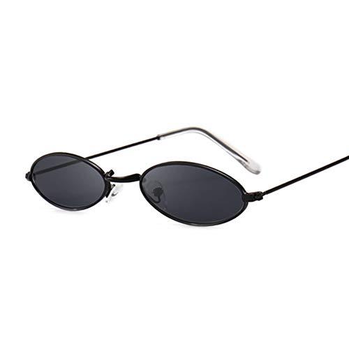 Kjwsbb Sonnenbrille Berühmte Ovale Sonnenbrille Weibliche Metall Runde Strahlen Rahmen Schwarz