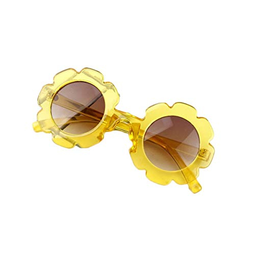 Eghunooye Kinder Baby Blume Rundes Anti-UV Sonnenbrille,Party Fotografie Strand Brillen Sonnenschutz Sunglasses Geschenk für Jungen und Mädchen (Gelb)