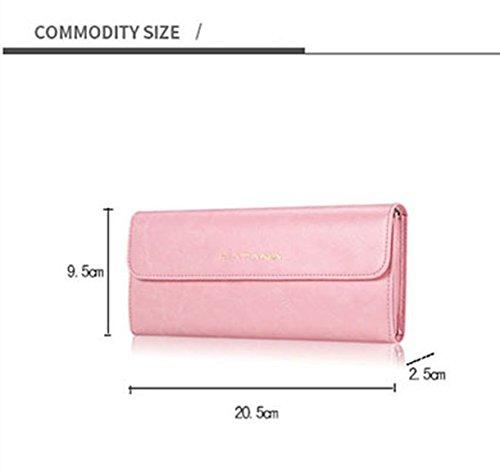Monster Lu Damenhandtaschen Neu Modisch Einfarbig echtes Leder Karten-Satz Handtasche Brieftasche Rose