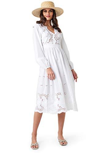 NA-KD Boho - Damen Boho Midikleider Scalloped Front Crochet Detail Kleider Weiß Crochet Detail Kleid