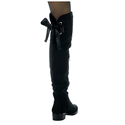 Angkorly - Women's Fashion Shoes Thigh Boot - Cavalier - Soft - Satin lace Block high Heel 3.5 cm 6