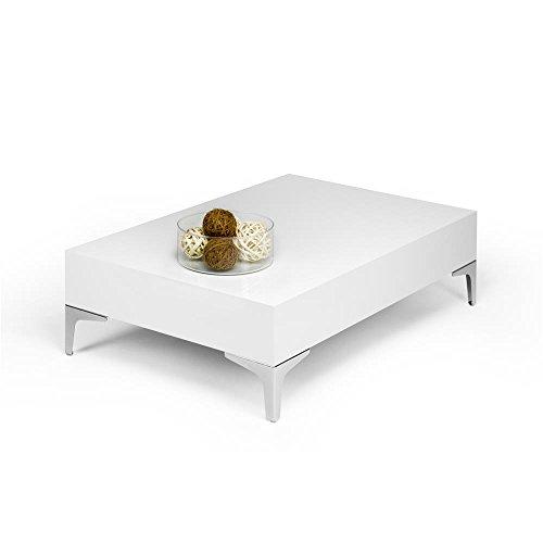 Mobilifiver evo chrome tavolino da salotto, legno, bianco lucido, 90.0x60.0x28.0 cm