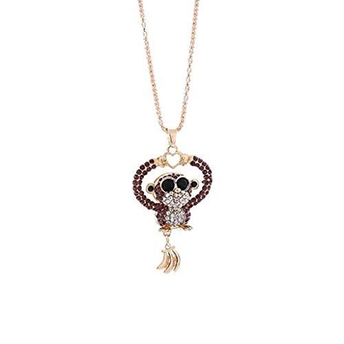 Mode-Halskette,KEATTL Angebote beliebte Mini Affe Anhänger Halskette Frauen Charme Bunte Nette Liebe Mini Affe Strass Halskette Schmuck (Lila)