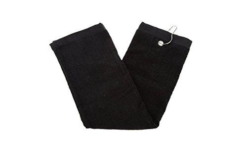 three-squirrels Serviette Tri-Fold de Golf avec sac Mousqueton Clip, coton éponge Noir 40,6x 63,5cm, noir