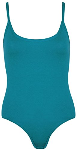 WearAll - Damen Träger Ärmellos Cami Vest Body Top - 8 Farben - Größen 36-42 Blaugrün
