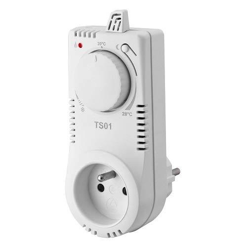 Fenix 9900330 Thermostat/Steckthermostat TS 01, temperaturabhängig geschaltete Steckdose mit einfacher analogen Steuerung für die Regulierung von elektrischen Heizsystemen, 11 28 Grad C, 230 V/50 Hz