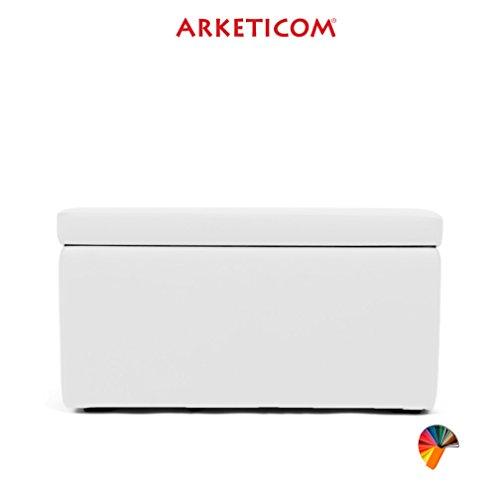 Arketicom pandora puff contenitore ecopelle poggiapiedi design pouf bianco