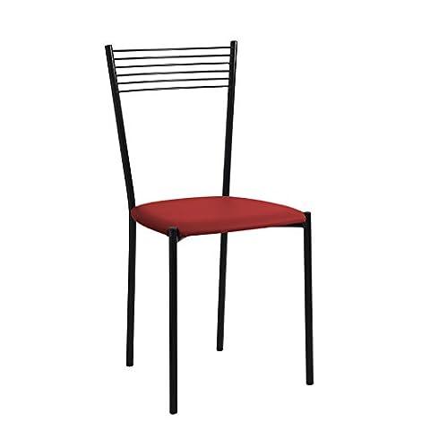 Sonia ensemble complet de 4chaises meubles fer verni noir avec assise en cuir synthétique 8couleurs disponibles rouge