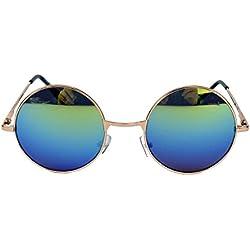 Retro Sonnenbrille Damen Herren Nickelbrille rund Lennon Style Metall Rahmen LNN (Rainbow Gold)