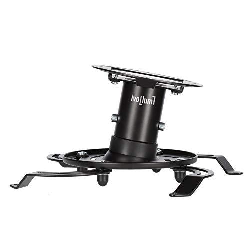 ivolum universal Beamer-Deckenhalterung PDH130 - schwarz - Traglast bis 15 Kg - neigbar - 13cm Deckenabstand - Deckenhalterung für Beamer