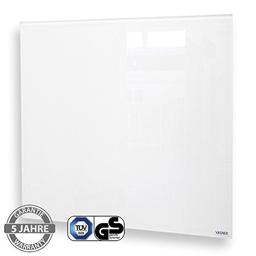 VASNER Citara Glas Infrarotheizung 450 Watt weiß 62x62cm, Wandmontage, Sicherheitshalterung, Sicherheitsglas, Glasheizung Flächenheizung Elektroheizung