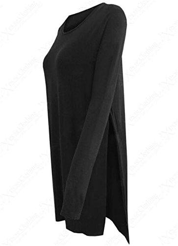 AILIENT Tunique Femme Classique Loose Longue à Manche Sweater Grande Taille Pullover Casual Top Tee Shirt Blouse Long Black