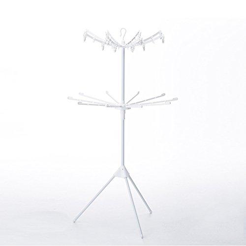 ZhuFengshop Wäscheständer 2-lagiger, zusammenklappbarer Handtuchhalter, Regenschirm-Wäscheständer aus Metall mit 16 Handtuchstangen, weiß / 360 ° -Drehung Wäschetrockner, Wäscherei, Balkon - Metall-wäscherei