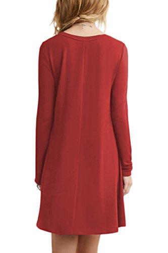 Yming donne manicotto casuale mini abito lungo camicia allentata Marrone