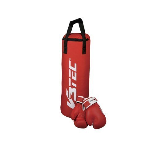 V3Tec Boxset Teens Boxsack inkl. Boxhandschuhe Handschuhe für Jugendliche rot
