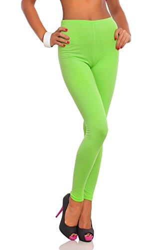 futuro fashion voller Länge Baumwolle Leggins alle Farben alle Größen aktiv-hose Sport Hosen - Limettengrün, 36 (Komfortable Grün)