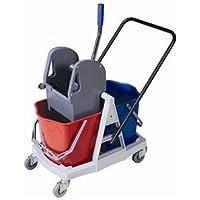 Cubo de fregado profesional con doble cubo de 18 litros y prensa. Carro de fregado con ruedas y robusta estructura para utilización profesional.