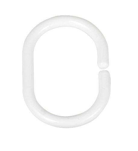 duschvorhangstange oval WENKO 19191100 Duschvorhangringe Weiß - 12er Set, klein, Kunststoff, Weiß